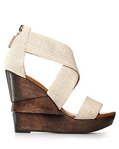 "Opal Wedges by DVF: 5"" wood wedge and 1"" platform. $295"