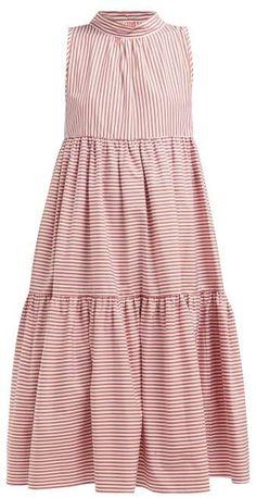 Asceno - Neck Tie Tiered Striped Cotton Dress - Womens - Red Stripe Women's Fashion Dresses, Casual Dresses, Summer Dresses, Blue Dresses For Women, Vestidos Zara, Dress Skirt, Bodycon Dress, Snake Print Dress, Maxi Robes
