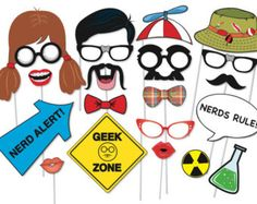 Nerd Photo booth Props Set - 21 Piece PRINTABLE - Beauty and the Geek party decorations, Nerdy glasses, moustaches, Photo Booth Props