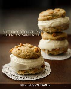 Butterscotch Chip Cookie Ice Cream Sandwiches | www.kitchenconfidante.com