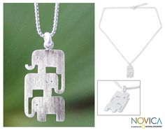 Sterling Silver 'Elephant Stack' Necklace (Thailand) - Overstock™ Shopping - Great Deals on Novica Necklaces