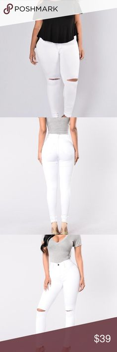 NWT Sexy Fashion Nova White Canopy jeans sz 1x/2x NWT Fashion Nova SEXY White Stretch jeans that grab and mold your figure.  Tag says 2x , but I would say these run kind of small so may fit a 1x, please use measurements below when preserving. Rip slits at the knee. So Sexy, especially with heels!! Measurements are: 34 inch waist unstretched. Length is 43 inches. These have lots of stretch. Pants Skinny