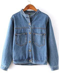 Blue Stand Collar Pockets Crop Denim Coat   -SheIn
