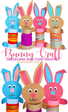 These Cardboard Roll Yarn Wrapped Bunnies are the cutest cardboard roll bunny craft, and it comes with a Free Printable Bunny Template so it's easy, too! Cardboard Roll Yarn Wrapped Bunny Craft with Free Printable Template Easter Art, Easter Crafts For Kids, Toddler Crafts, Preschool Crafts, Easter Bunny, Cardboard Rolls, Cardboard Crafts, Yarn Crafts, Cardboard Playhouse