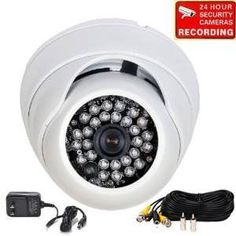 """VideoSecu 700TVL Day Night IR CCTV Wide Angle Home Surveillance Security Camera Built-in 1/3"""" SONY Effio CCD Vandal Proof Outdoor 3.6mm Lens with Power Supply and Camera Extension Cable CBE ** Click on the image for additional details."""
