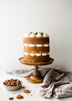 Brown Butter Cake with Candied Pecans - Wood & Spoon Cinnamon Sugar Pecans, Candied Pecans, Whipped Buttercream, Holiday Pies, Holiday Baking, Canned Frosting, Pecan Wood, Cake Packaging, Wood Spoon