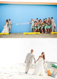 love this whole wedding... classy beach theme. love the khaki, blue and white.