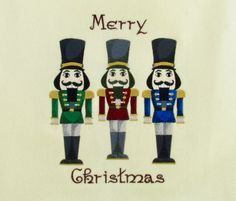 Love nutcrackers! Created this design by copying one design three times and altering the colors.  I added the Merry Christmas text.  I used this design on a wine tote bag.