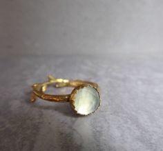 Prehnite twig ring, gold plated botanical ring, solitaire ring