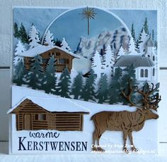 Handmade card by DT member Anja with Creatables Tiny's Log Cabin (LR0441),  Tiny's Reindeer (LR0442), Tiny's Austrian Village (LR0443) and Horizon Forest (LR0444) from Marianne Design
