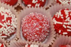 red and white cake balls