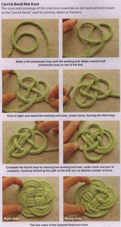 Knotted coasters & trivets -- This is for when you have time while you're camping! This is perfect for Celt and sea lovers!I Cord Knotted coasters & trivetsLearn how to make a Carrick Bend Mat Knotdiy : directions for various knot styles Love this Ce Macrame Patterns, Knitting Patterns, Crochet Patterns, Rope Crafts, Yarn Crafts, Diy Crafts, Knitting Projects, Crochet Projects, Diy Projects