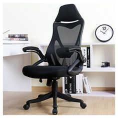 office factor executive managers high back black mesh chair