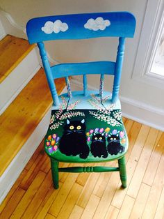 I saw the movie, and she inspired me to get back to painting chairs! Three Cats was so much fun to paint! I thought this particular antique chair was suited for a Maud Lewis theme. Hand Painted Chairs, Whimsical Painted Furniture, Art Deco Furniture, Hand Painted Furniture, Furniture Ideas, Distressed Furniture, Painting Kids Furniture, Painted Tables, Decoupage Furniture