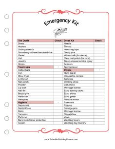 Keep the bride prepared and calm with the Wedding Planner Emergency Kit checklist. Make sure you have everything you need to fix the dress, get ready and do touch-ups before the ceremony. Free to download and print