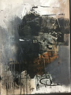Acrylic, paper and ink on canvas artist Mageda Kassis