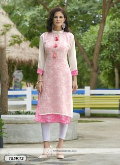 84996cf123 Buy Charming white & Peach Colored Gerogette Designer Double layered Kurti  Get 30% Off +