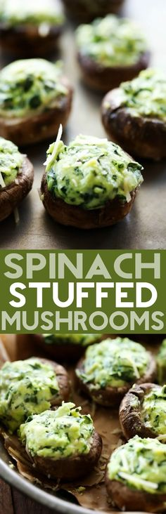 Spinach Stuffed Mushrooms... A flavorful cream cheese spinach mixture stuffed inside mushrooms and cooked to perfection! This is one tasty and addictive appetizer!