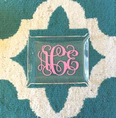 Cute monogrammed tray for holding jewelry, car keys, phone, and more.