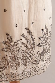 Detail of the day: Silver embroidery on white cotton gauze evening dress, English, ca. 1805, KSUM 1983.1.27.