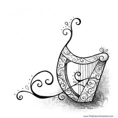 Finn's Harp Pen and Ink Illustration by Amalia Hillmann of The Eclectic Illustrator