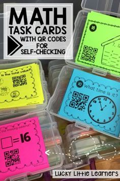 236 pages of math task cards with QR codes for self checking.  Skills include addition, subtraction, place value, money, missing addends, money, time, fact families, 2-digit addition, 2-digit subtraction, geometry, fractions, and graphing.  Huge time saver for teachers as we no longer need to spend tons of time correcting and managing behaviors because the QR codes are motivating for your 2nd grade students.  These are great for math stations or guided math time.