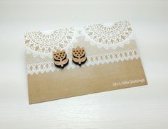 Wooden tulip   handmade stud earrings   laser cut wooden flower   folk style   surgical stainless steel