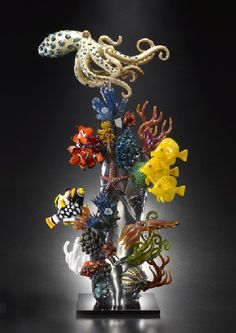 Coral Reef by Joe Peters … Sea creatures beautifully done in glass : fish, octopus, starfish,… art . sculpture