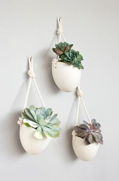 Set of 3 porcelain and cotton rope hanging by lightandladder