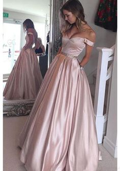 A Line Off Shoulder Pink Long Prom Dresses Ball Gown Evening Dresses (ED1612)