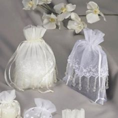 White Wedding Lace Trimmed Bags