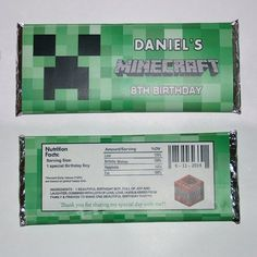 Printable Minecraft Creeper Candy Bar Wrapper - Hershey Candy   Mary_Party_Supply - Paper/Books on ArtFire