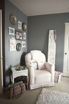 Pink and grey baby room (our's will have to be blue!)