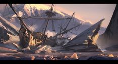 Ahoy, there! Shiver me timbers, this shipwreck #conceptart by Nikola Sinitsa is awesome :-)