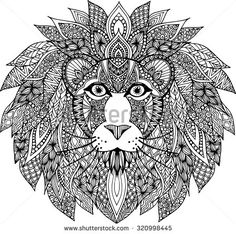 Hand drawn outline lion head illustration decorated with abstract doodle zentangle ornaments - stock vector