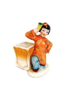Occupied Japan Chinese Girl Figurine Brush Pot Vase by Comforte