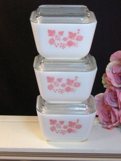 Vintage Pyrex Pink Gooseberry Small Refrigerator Dishes Set of Three