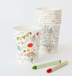 Adorable color your own cups from Oh Happy Day. Party genius, and more fun than writing initials with a Sharpie.