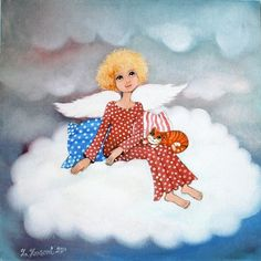 Andělíček na obláčku / Zuzana. Naive, Guardian Angels, Illustration, Decoupage, Diy And Crafts, Contemporary Art, Cinderella, Disney Characters, Fictional Characters