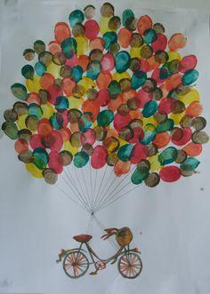 Fingerprint craft for kids. Helium balloons and bike.  http://speckledsydney.wordpress.com/2013/04/26/lets-fly-away/