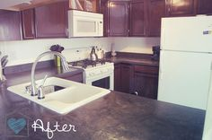 DIY Concrete Countertops  Look what they did to their laminate countertops!