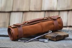 Hand made leather tool roll wrench roll tool by Rivetandleatherco -★-