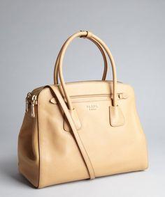 Prada : khaki saffiano leather convertible top handle bag : style # 326366801, $1,960.00