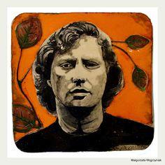 Marek Grechuta =portret na talerzu na ścianę Małgorzata ęgrzyniak #polandhandmade #hand-painted #ceramic #pottery #hand- molded