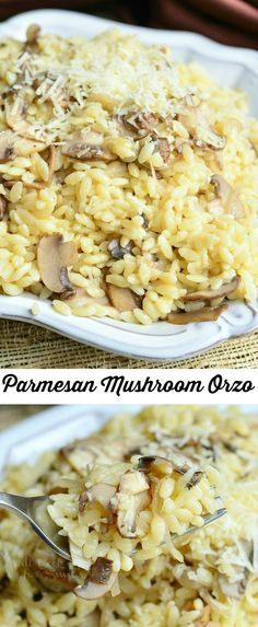 Parmesan Mushroom Orzo ~ with freshly grated Parmesan cheese, sauteed mushrooms and shallots. Orzo Recipes, Side Dish Recipes, Vegetarian Recipes, Dinner Recipes, Cooking Recipes, Healthy Recipes, Skillet Recipes, I Love Food, Good Food