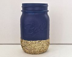 Navy + Gold Glitter Mason Jar. Perfect for Weddings, Birthday Parties, Makeup Brush Holder, Bridal Showers, Nautica