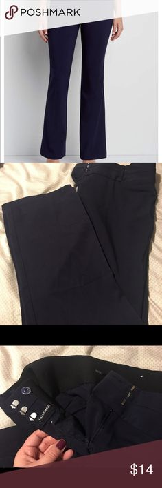 "Navy smart bootcut pant- brand new Comfortable, stretchy, and flattering navy bootcut pants from Maurice's. I LOVE these ""smart"" pants with the extended tab wasitband, they are the best work pants. I just ordered the wrong size and forgot to take them back on time. My mistake- your gain! Maurices Pants Boot Cut & Flare"