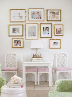 Chic Critique | Wall Gallery Inspiration | Office Space | White and Gold | Symmetrical