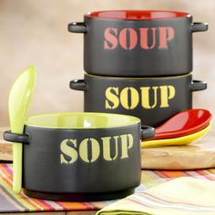 Stoneware Soup Bowls With Spoons - The Green Head