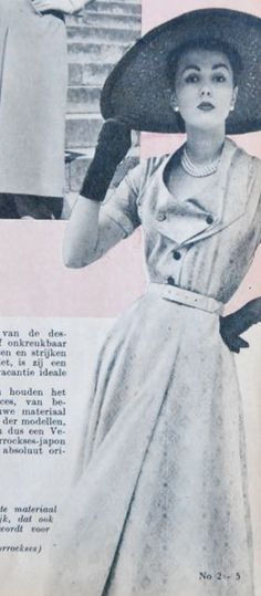 dress with interesting collar, Libelle 1952